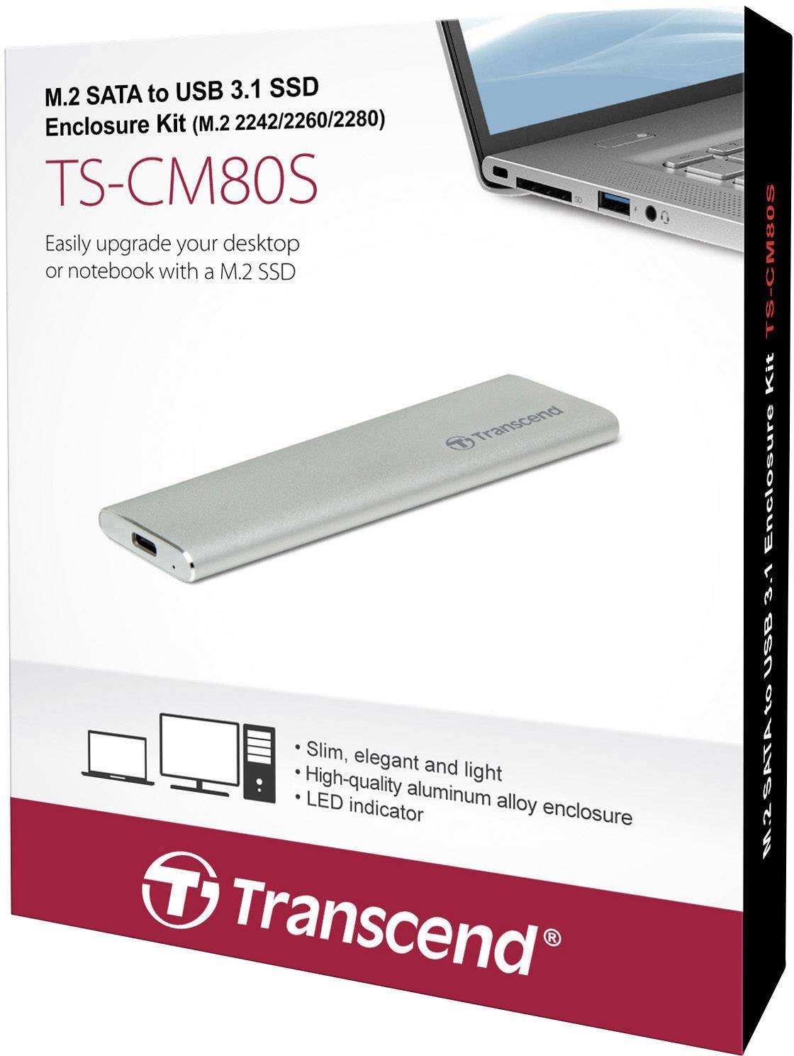 Transcend CM80S USB 3.1 M.2 SATA USB TYPE C Sürücü Kutusu